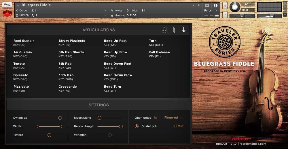 旅行者系列小提琴音源Red Room Audio Traveler Series Bluegrass Fiddle KONTAKT