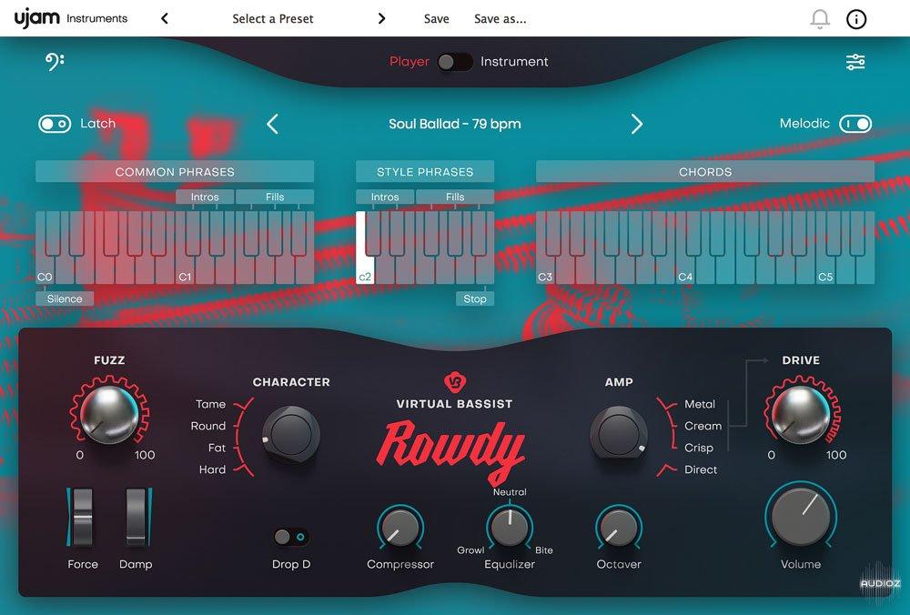 虚拟贝斯手音源UJAM Virtual Bassist ROWDY Library v1.0.0